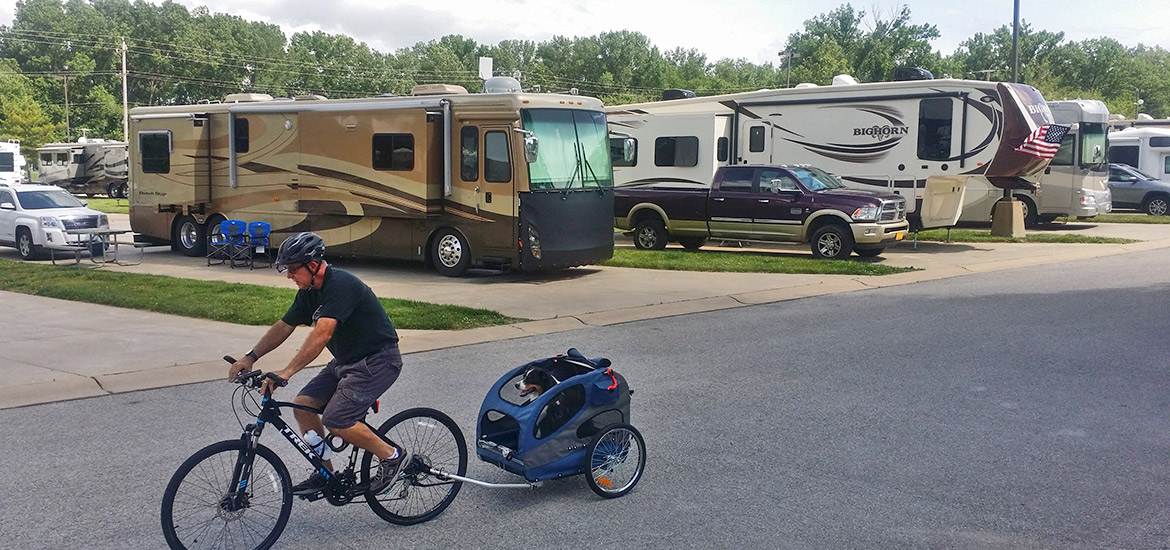 Camper Biking with Dog in Carriage
